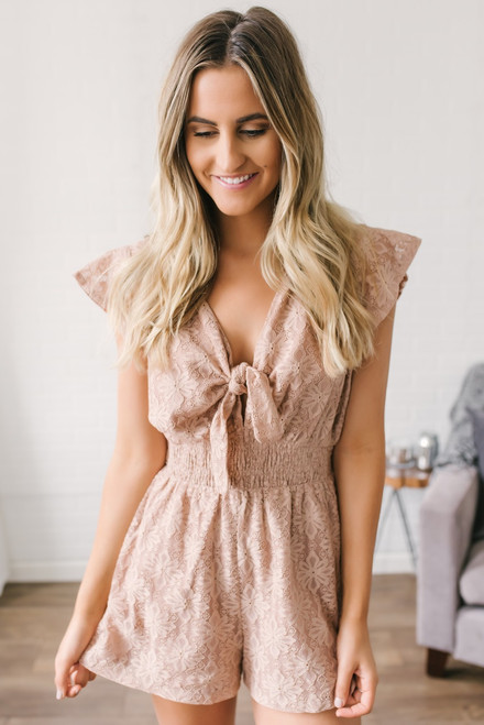Once Upon a Time Lace Romper - Blush