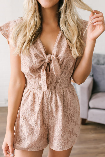 Once Upon a Time Lace Romper - Blush - FINAL SALE