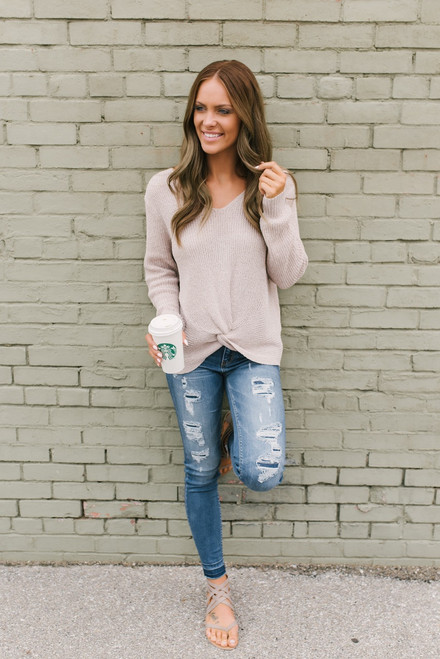 French Market Knot Sweater - Latte