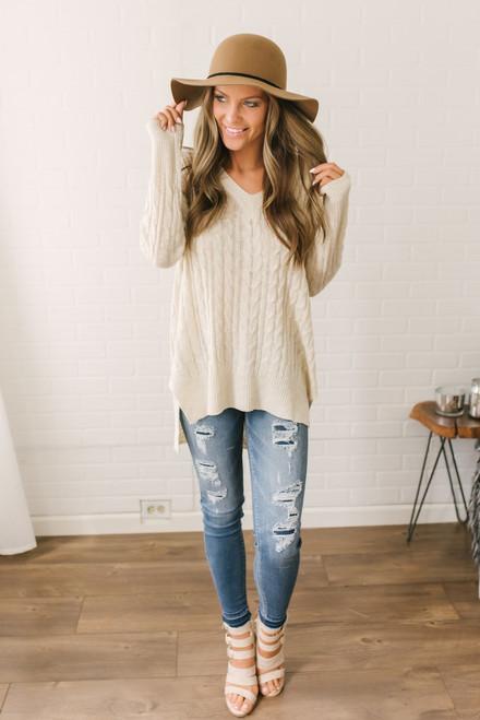 Winnie Criss Cross Back Sweater - Cream