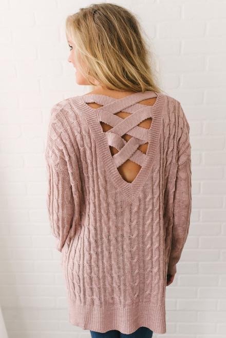 Winnie Criss Cross Back Sweater - Dusty Rose