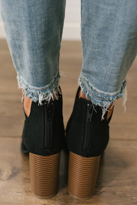 Brooklyn Perforated Cutout Peep Toe Booties - Black
