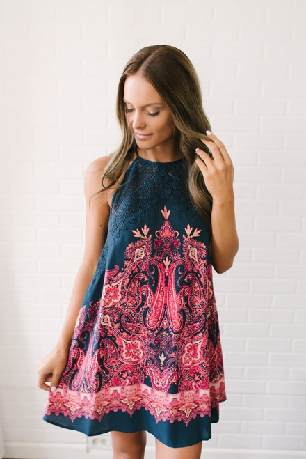 Free People Shea Printed Dress - Navy Multi