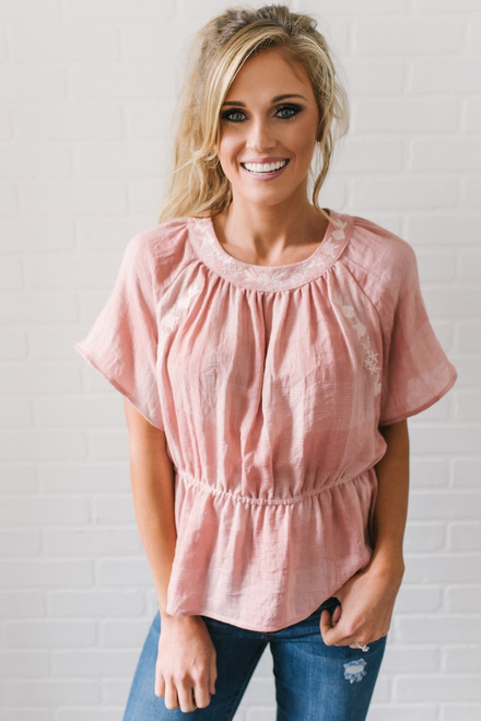 Check Yes Juliet Embroidered Peplum Top - Blush