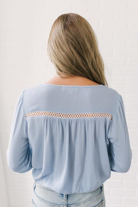 Nevaeh Tie Front Crochet Detail Top - Light Blue - FINAL SALE