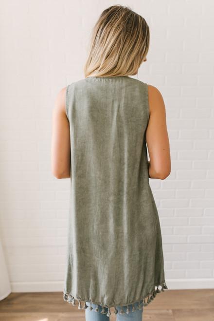 Vintage Wash Sleeveless Tassel Cardigan - Olive - FINAL SALE