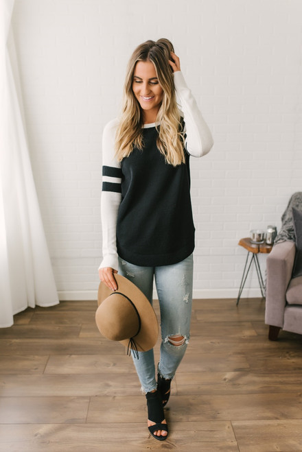 Sample Gates Varsity Sweater - Black/White