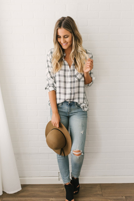 Shadow Creek Button Down Plaid Top - White/Black