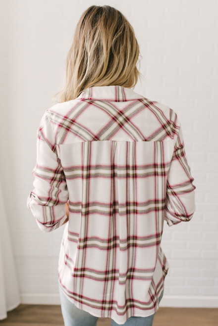 Shadow Creek Button Down Plaid Top - Ivory/Wine