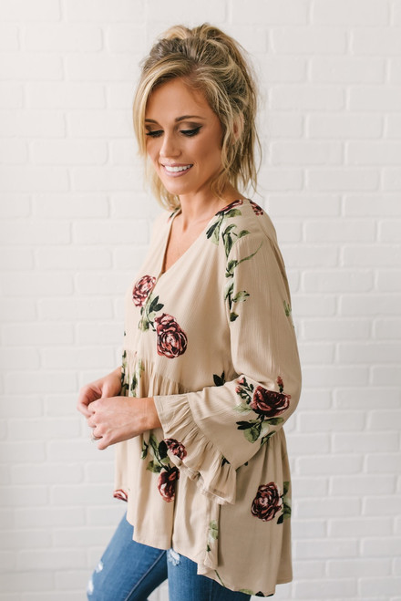 Abigail Henley Floral Babydoll Top - Taupe Multi