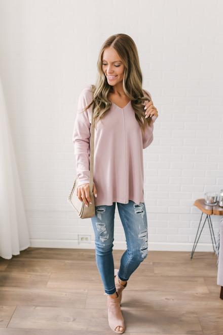 Lightweight V-Neck Sweater - Blush