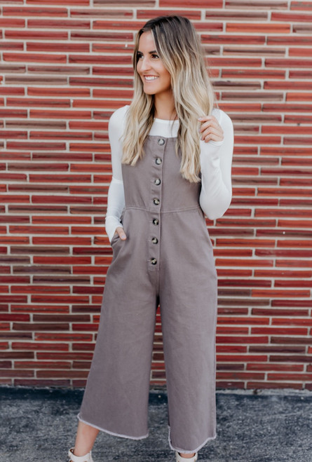 Button Down Overall Jumpsuit - Mocha Mauve - FINAL SALE