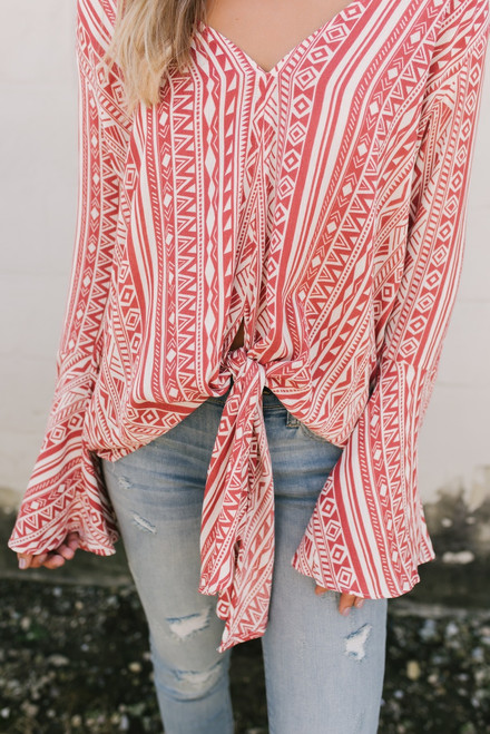 Bell Sleeve Tribal Knot Top - Brick/Ivory