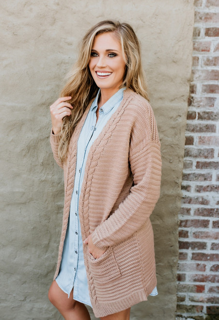 Why Not Cable Detail Pocket Cardigan - Desert Sand - FINAL SALE