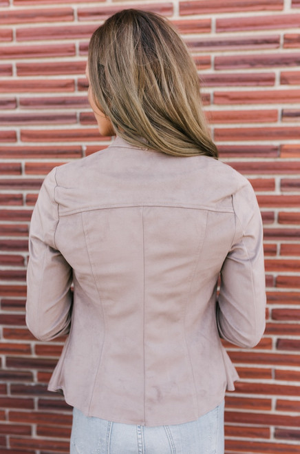 Park Avenue Faux Suede Draped Jacket - Mocha - FINAL SALE