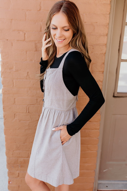 Adley Button Down Overall Dress - Mocha