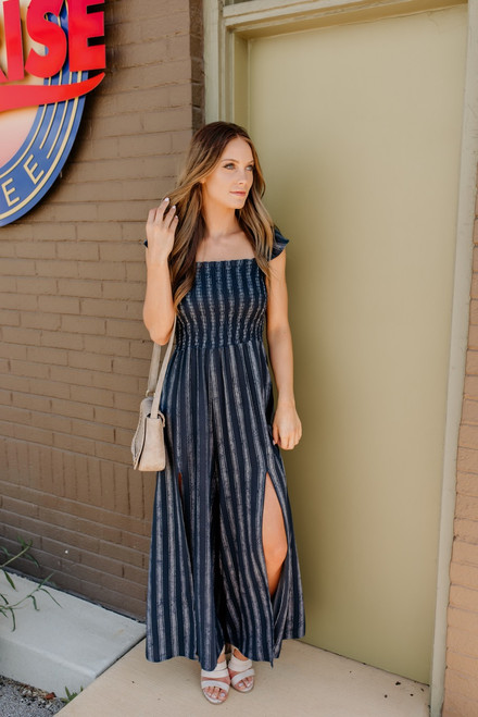 Infinite Love Smocked Striped Jumpsuit - Navy/White - FINAL SALE