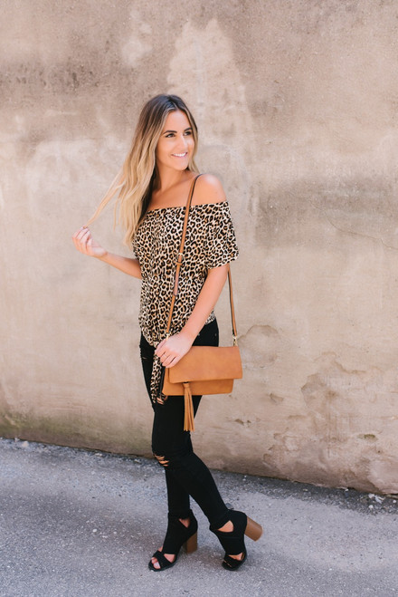 Off the Shoulder Leopard Knot Top - Brown Multi