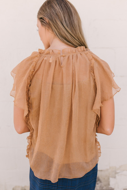 This Magic Moment Gauzy Blouse - Gold