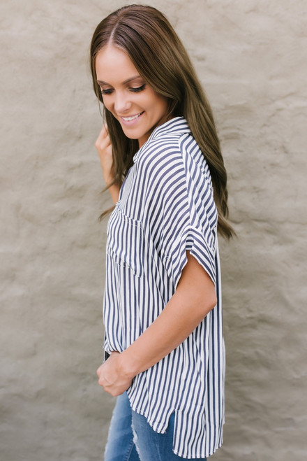 Button Down Striped Pocket Top - Charcoal/White - FINAL SALE