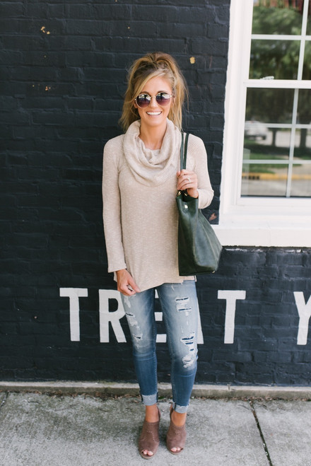 Soft Brushed Ribbed Knit Two-Way Sweater - Taupe