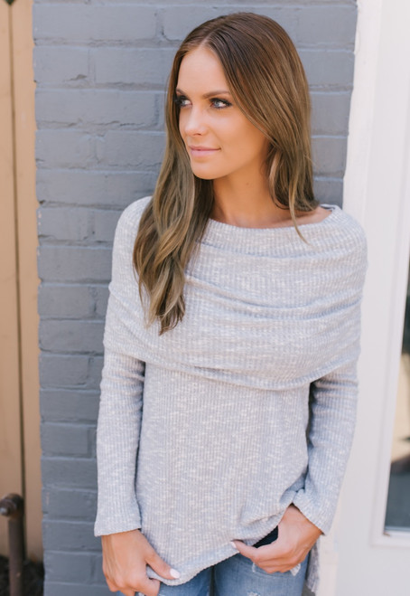 Soft Brushed Ribbed Knit Two-Way Sweater - Grey - FINAL SALE