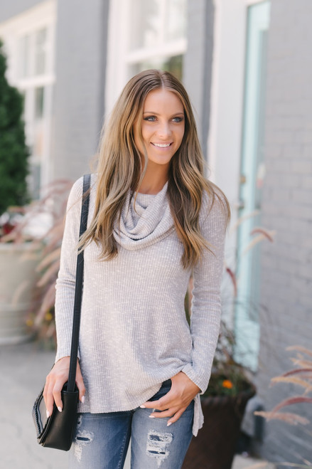 Soft Brushed Ribbed Knit Two-Way Sweater - Grey