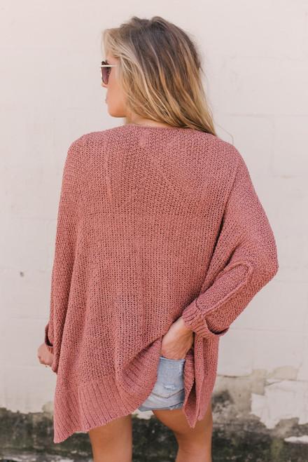 Wandering Soul Open Knit Sweater - Canyon Sunset