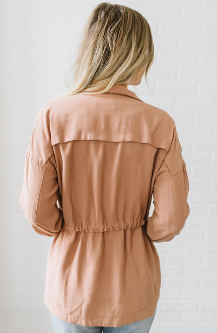 Tuscan Adventure Drawstring Cargo Jacket - Dusted Clay - FINAL SALE