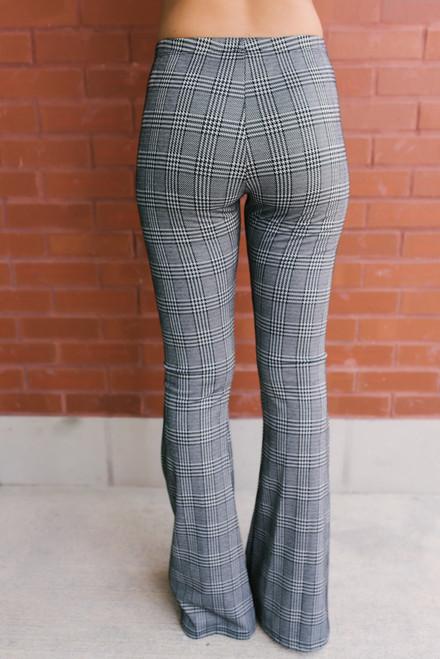 Carmen Houndstooth Plaid Flare Pants - Black/Grey
