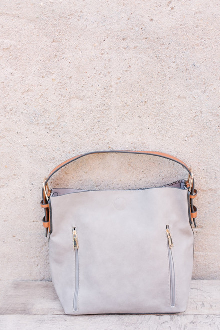 Oxford Street Zipper Detail Handbag - Grey