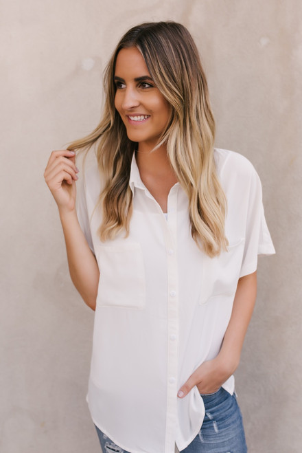 Hanna Button Down Pocket Top - Ivory