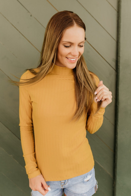 Westport Mock Neck Ribbed Knit Top - Mustard