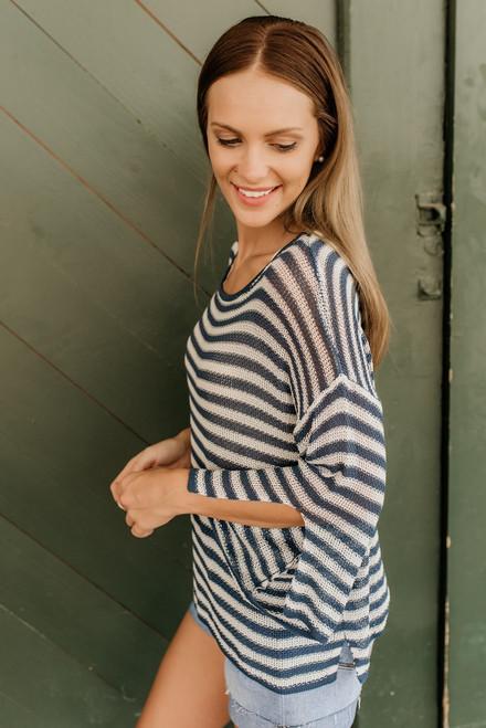 Ocean Avenue Open Knit Striped Sweater - Teal/White