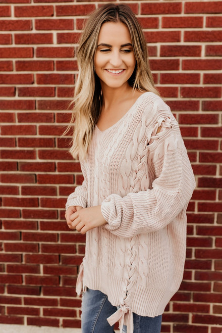 Lace Up Detail Cable Sweater - Mauve