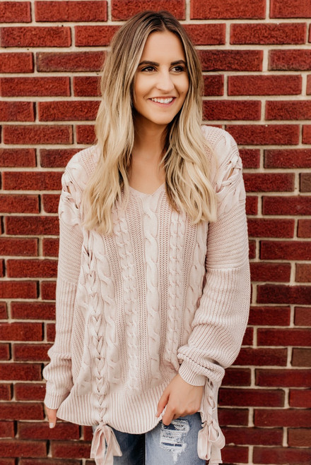 Lace Up Detail Cable Sweater - Mauve