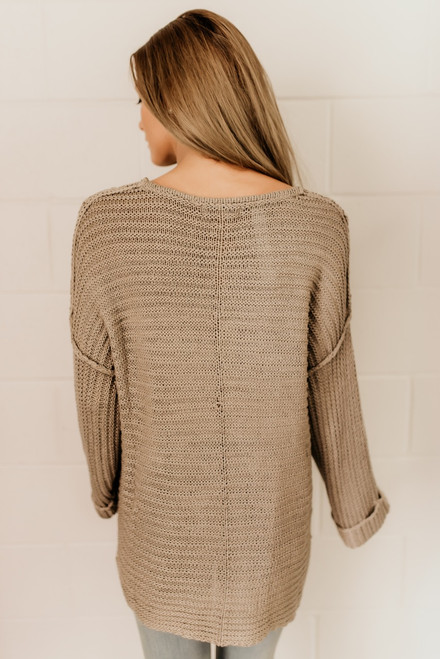 Love in London Seam Detail Sweater - Taupe Grey