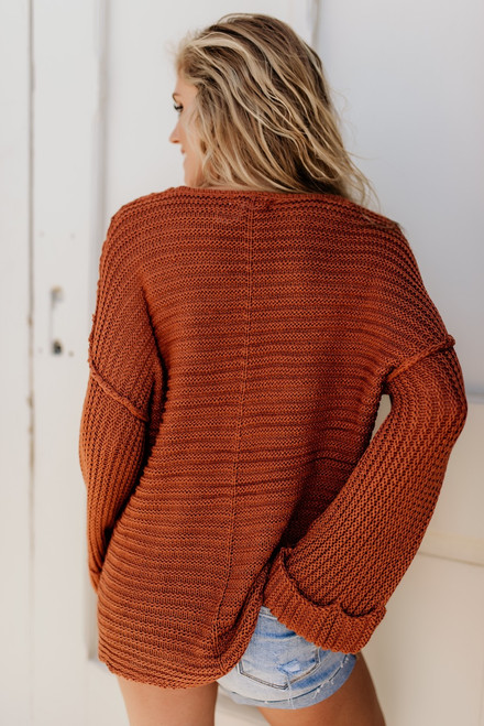 Love in London Seam Detail Sweater - Rust