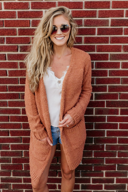 Coffee Run Soft Pocket Cardigan - Caramel