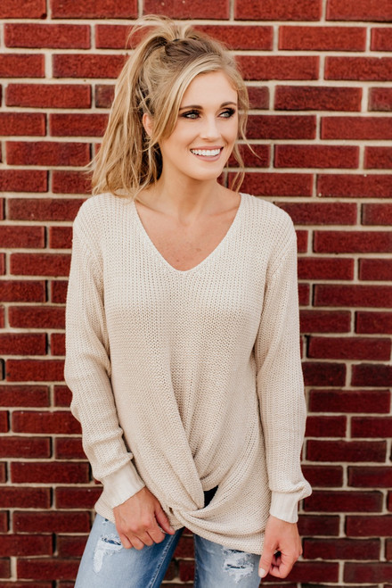 Need You Now Knot Sweater - Beige