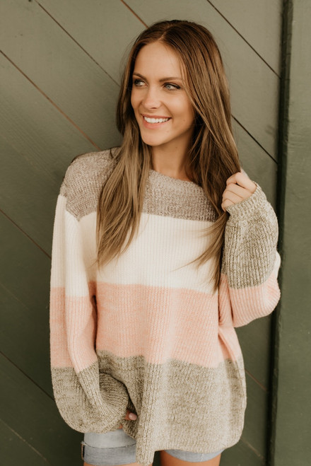 Champagne in Paris Colorblock Sweater - Mocha Multi