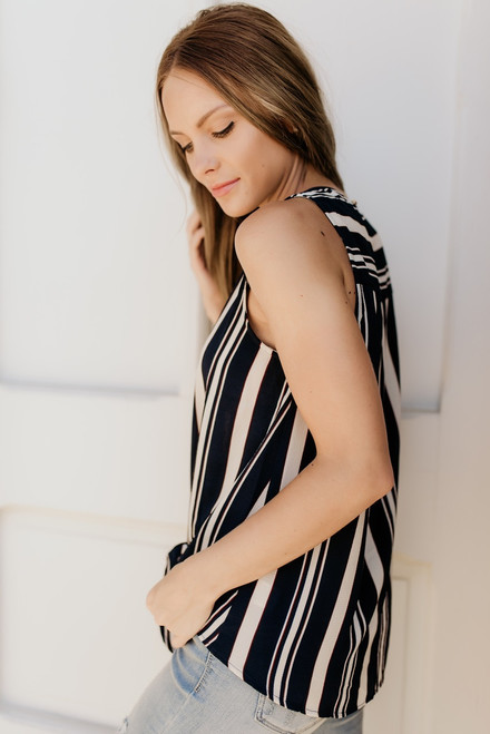 West Village Striped Knot Tank - Navy Multi - FINAL SALE