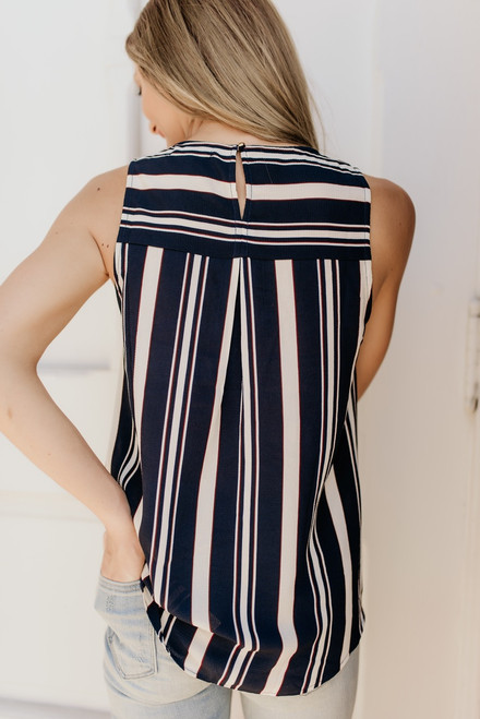 West Village Striped Knot Tank - Navy Multi