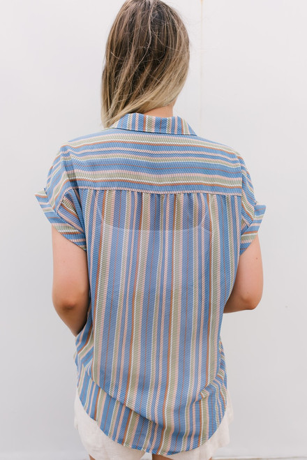 Sandy Springs Striped Button Down Top - Blue Multi