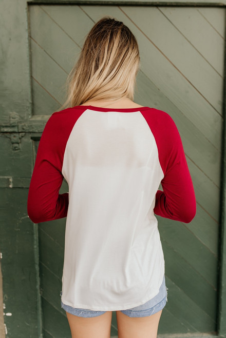 Cross Front Colorblock Long Sleeve Tee - Burgundy/Ivory - FINAL SALE