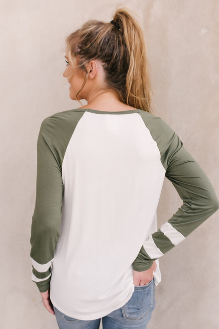 Cross Front Colorblock Long Sleeve Tee - Olive/Ivory