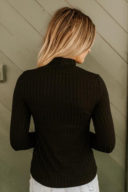 Westport Mock Neck Ribbed Knit Top - Black