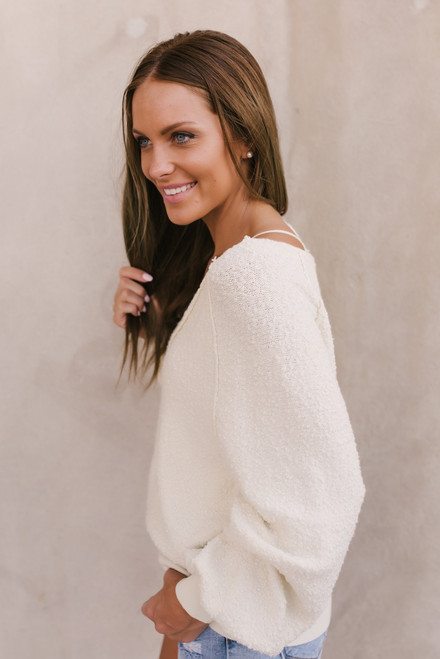 Free People Found My Friend Sweatshirt - Ivory