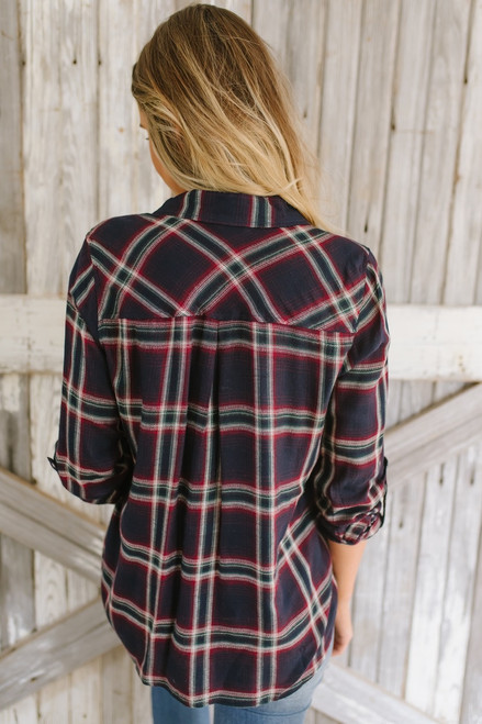 Shadow Creek Button Down Plaid Top - Navy/Burgundy