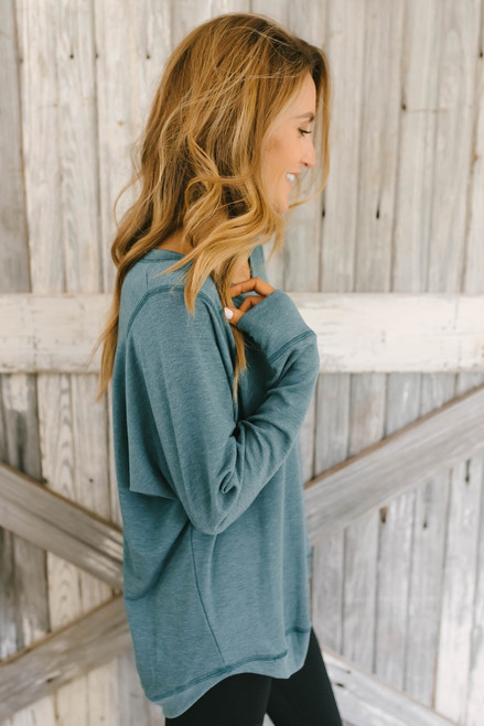 Contrast Stitch French Terry Pullover - Teal